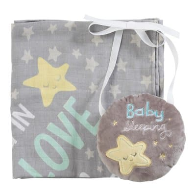 Baby Boy Muslin Wrap and Door Hanger