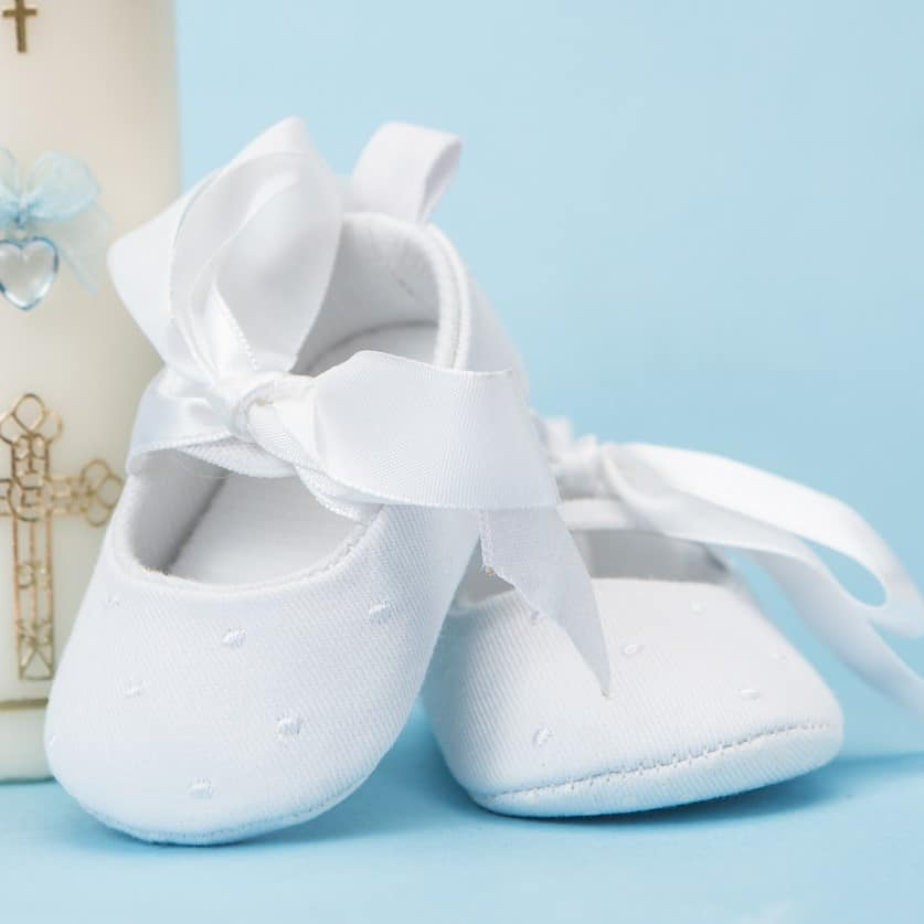 Baptism white baby booties