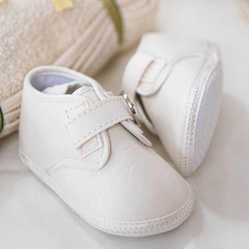New born white  baptism shoes