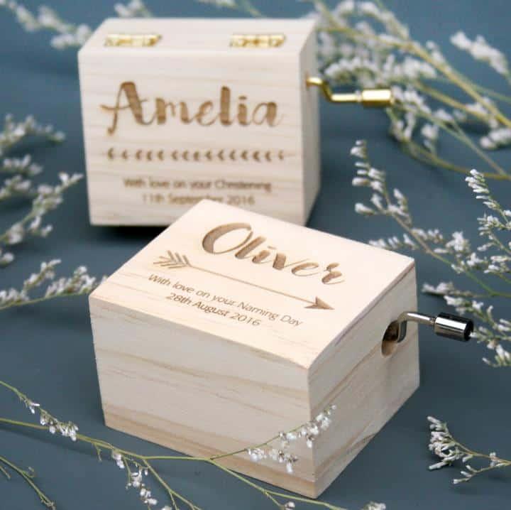 Personalised-music-box godson christening gift