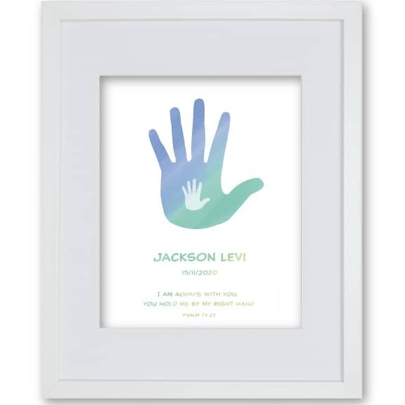 Personalised Framed Faith Print Hands - Godson