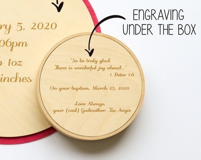 personalised keepsake box under lid
