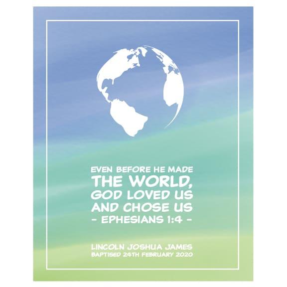 Personalised Faith Print Godson - World